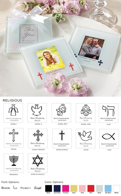 Personalized Photo Coasters/Place Card Holders - Religious (Set of 12)