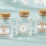 Personalized Cork-Stopped Glass Jars w/ Silver Foil Designs (12 Count)