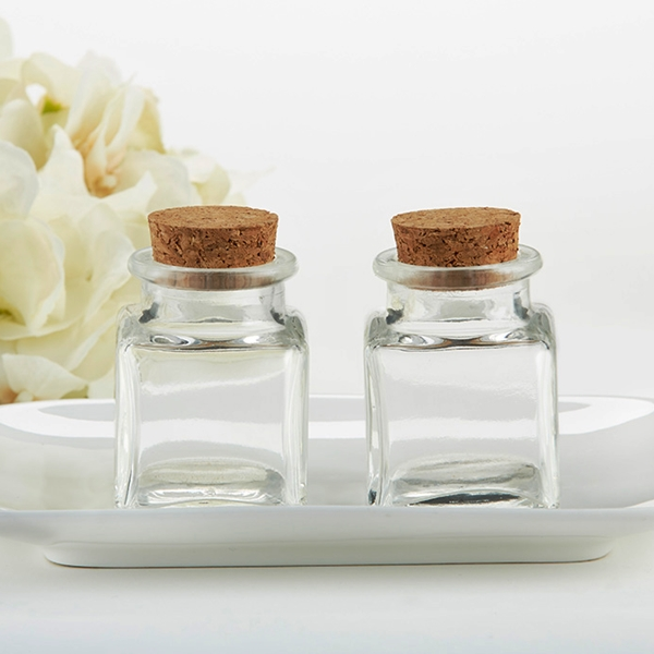 Kate Aspen Cork-Stopped Petite Square Glass Jars - DIY (Set of 12)