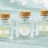 Personalized Cork-Stopped Glass Jars w/ Gold Foil Designs (Set of 12)