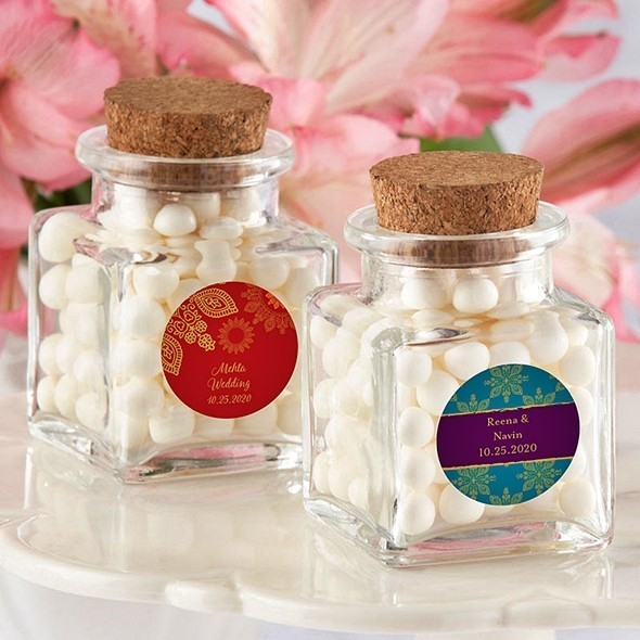 Personalized Indian Jewel Designs Cork-Stopped Glass Jars (Set of 12)