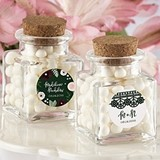 Personalized Square Glass Favor Jars (Romantic Garden) (Set of 12)