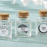 Personalized Cork-Stopped Glass Jars - Silver Foil Designs (Set of 12)