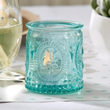 Vintage-Design-Embossed Blue Glass Candle Holders (Set of 4)