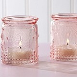 Vintage-Design-Embossed Pink Glass Tea Light Candle Holders (Set of 4)