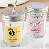 Personalized Mason Jars with Baby Shower Designs Stickers (Set of 12)