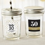 Personalized Mason Jars with Milestone Birthday Stickers (Set of 12)