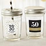 Personalized Mason Jars with Milesone Birthday Stickers (Set of 12)