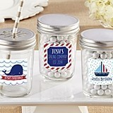 Personalized Mason Jars with Nautical Birthday Designs (Set of 12)