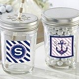 Personalized Mason Jars w/ Nautical Bridal Shower Designs (Set of 12)