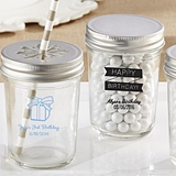Personalized Mason Jars w/ Printed Birthday Party Designs (Set of 12)