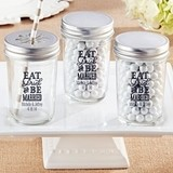 Personalized Mason Jars with Eat Drink & Be Married Design (Set of 12)