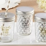 The Hunt is Over Design Personalized Printed Mason Jars (Set of 12)