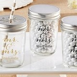 Personalized Mason Jars with Script Mr. & Mrs. Design (Set of 12)