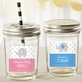 Personalized Mason Jars with Little Peanut Elephant Design (Set of 12)