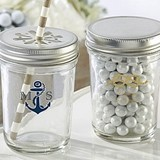 Personalized Mason Jars with Nautical Wedding Designs (Set of 12)