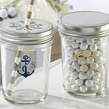 Personalized Mason Jars with Nautical Wedding Designs (Set of 12)
