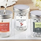 Personalized Mason Jars with Woodland Birthday Designs (Set of 12)