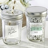 Personalized Mason Jars with Rustic Wedding Designs (Set of 12)