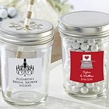 Personalized Mason Jars with Wedding/Bridal Shower Designs (Set of 12)