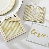 "Gold ""Love"" Glass Coasters with Two Designs (Set of 2)"