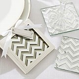 """Love Shines"" Silver Chevron Pattern Coasters (Set of 2)"