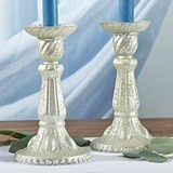 Kate Aspen Light Champagne-Colored Frosted Mercury Glass Candlesticks
