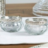 Kate Aspen Mercury Glass Tealight Holders with Silver Fleck (Set of 4)