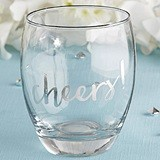 Kate Aspen Silver 'Cheers!' Stemless 12 oz. Wine Glasses (Set of 4)