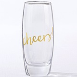 Kate Aspen Gold 'Cheers!' Stemless 12 oz. Champagne Glasses (Set of 4)