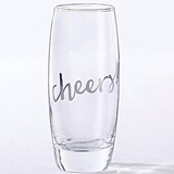 Kate Aspen Silver Cheers! Stemless 12 oz. Champagne Glasses (Set of 4)