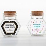 Kate Aspen Personalized Glass Hexagon Jar - Party Time (Set of 12)