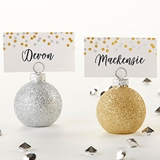 Silver and Gold Glitter Ornaments Place Card Holders (Set of 6)