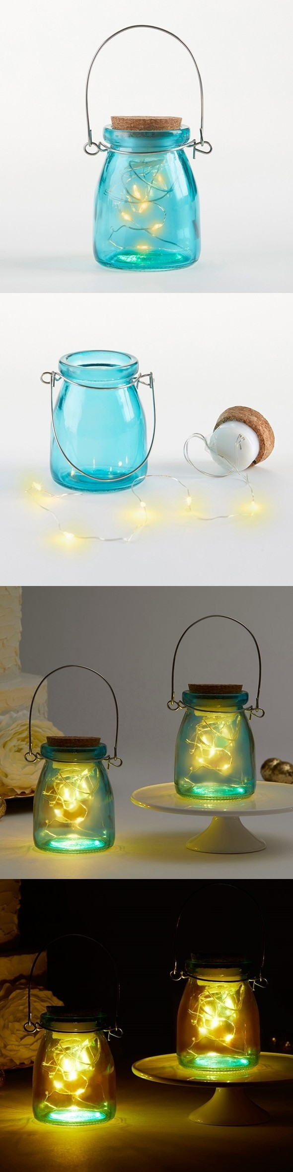 Kate Aspen Hanging Blue-Glass Jars With Fairy Lights (Set of 4)