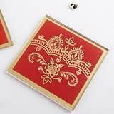 Kate Aspen Indian Jewel Henna Design Glass Coasters (Set of 2)