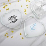 Personalized Glass Heart-Shaped Coasters - Monogram (Set of 12)