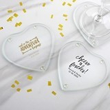 Personalized Glass Heart-Shaped Coasters - Wedding (Set of 12)