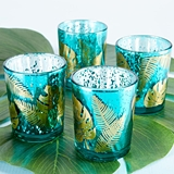 Kate Aspen Palm Leaf Design Frosted Green Glass Votives (Set of 4)
