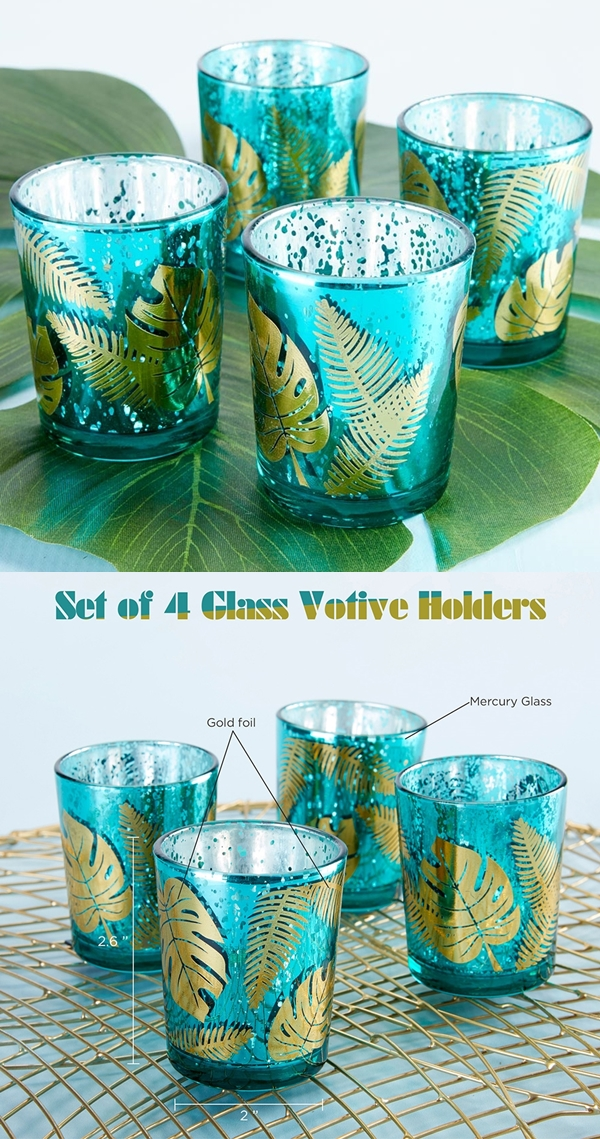 Kate Aspen Palm Leaf Design Frosted Green Glass Votives Set Of 4 Personalized Gifts And Party Favors