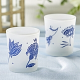 Kate Aspen Blue Willow Motif Frosted Glass Votives (Set of 4)