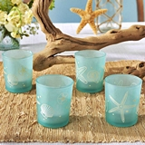 Kate Aspen Beach Party Designs Frosted Glass Votives (Set of 4)