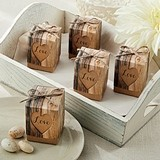 Kate Aspen Loving Hearts Wood-Print Rustic Favor Boxes (Set of 24)