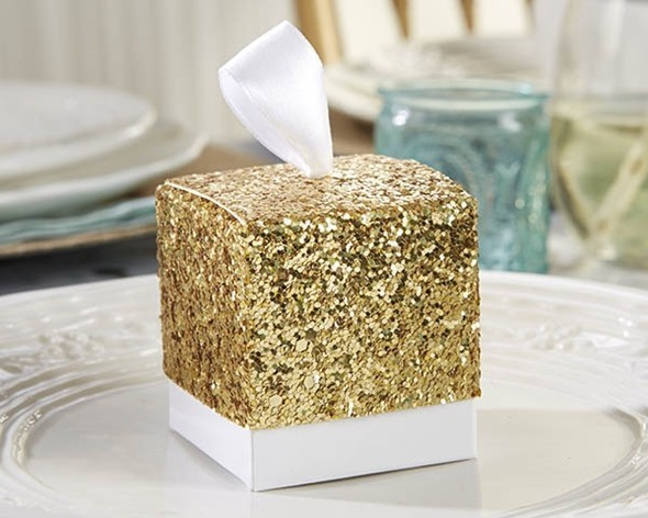 """All That Glitters"" Gold Glitter Favor Boxes (Set of 24)"