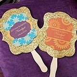 Personalized Indian Jewel-Tone Gold Glitter Hand Fans (Set of 12)