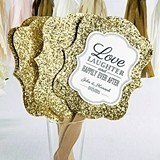 Personalized Wedding Words Gold Glitter Hand Fans (Set of 12)