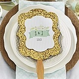 Personalized Rustic Wedding Gold Glitter Hand Fans (Set of 12)