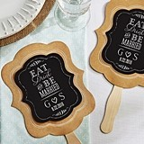 Personalized Eat, Drink & Be Married Kraft-Paper Hand Fans (Set of 12)