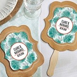 Personalized 'Tropical Chic' Palms Design Kraft-Paper Fans (Set of 12)