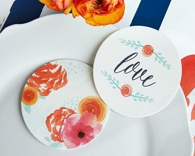 """""""In Bloom"""" Botanical Round Paper Coasters (Set of 20)"""