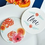 """In Bloom"" Botanical Round Paper Coasters (Set of 20)"